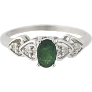 Emerald & Diamond Ring - 10k White Gold Solitaire with Accents Oval .58ctw