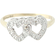 Vintage Double Hearts Ring - 10k Yellow & White Gold Diamond Accent Size 6