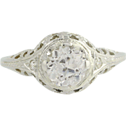 Art Deco White Sapphire Ring - 18k White Gold Vintage 1.48ct