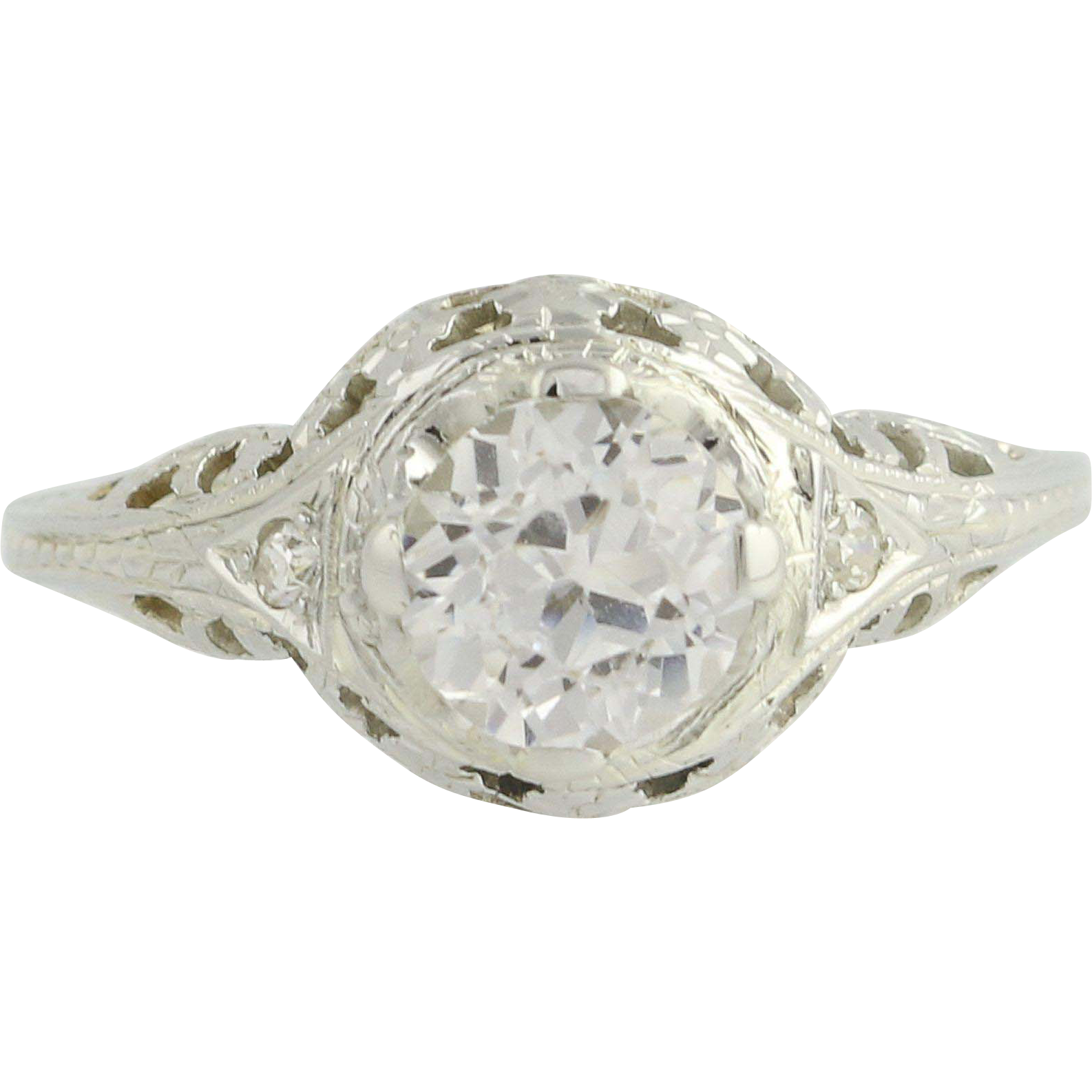 Art Deco White Sapphire Ring - 18k White Gold Vintage 1.48ct