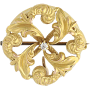 Edwardian Watch Pin Brooch - 14k Yellow Gold Mine Cut Diamond Accent