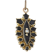 Vintage Onyx & Seed Pearl Pendant - 10k Yellow Gold Converted Women's Gift