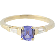 Tanzanite & Diamond Ring - 14k Yellow Gold Solitaire with Accents .60ctw