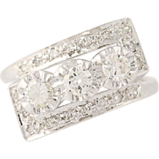 Vintage Diamond Bypass Ring - 14k White Gold Round Brilliant .58ctw