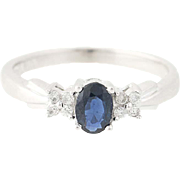 Sapphire & Diamond Ring - 14k White Gold Oval Brilliant .65ctw