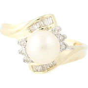 Cultured Pearl & Diamond Bypass Ring - 14k Yellow Gold 7mm Women's .25ctw
