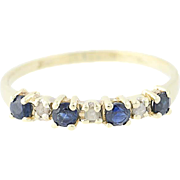 Sapphire & Diamond Ring - 10k Yellow Gold Women's 0.25ctw