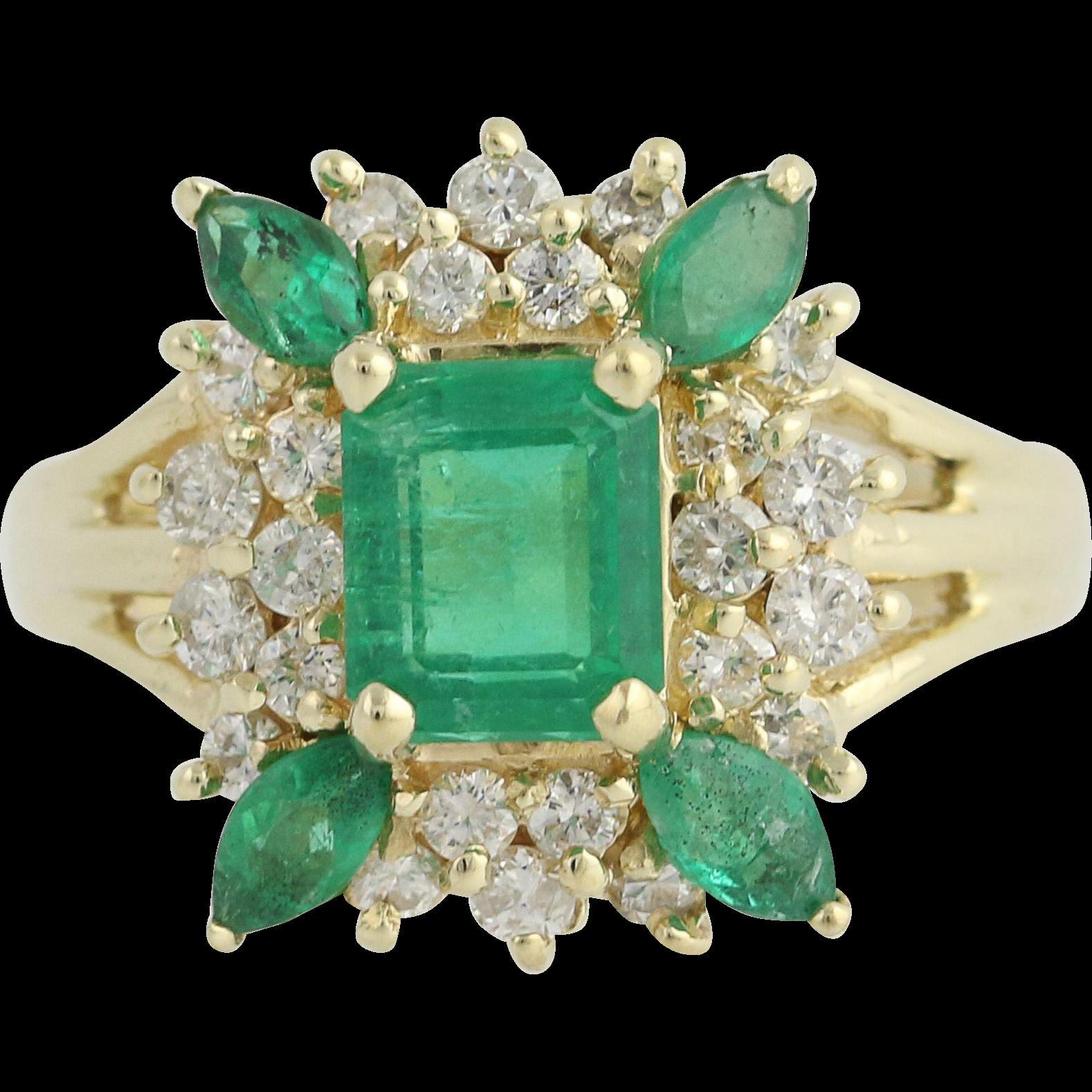 Emerald & Diamond Ring - 14k Yellow Gold May Birthstone 2.15ctw