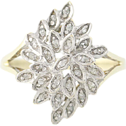 Diamond Cluster Bypass Ring -10k Yellow & White Gold Floral Design Women's 6 3/4