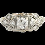 Art Deco Diamond Engagement Ring - 14k Gold & Palladium Vintage .60ctw