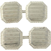 Art Deco Cufflinks - 14k White Gold Etched Stripe Pattern Men's Vintage Gift