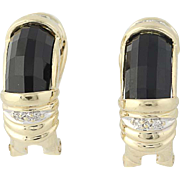 Onyx & Diamond Earrings - 14k Yellow Gold Omega Closures Pierced