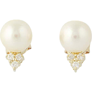 Cultured Pearl & Diamond Stud Earrings - 14k Yellow Gold Pierced .15ctw