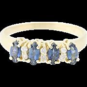 Sapphire & Diamond Ring - 14k Yellow Gold Marquise Brilliant .77ctw