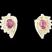 Ruby & Diamond Stud Earrings - 14k Yellow Gold Oval Brilliant Pierced .35ctw