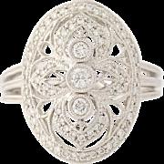 Diamond Ring - 14k White Gold Halo Milgrain Round Cut .43ctw