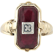Vintage Reversible Gemstone Ring -10k Gold Synthetic Red Spinel, Diamond, Onyx
