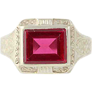 Art Deco Synthetic Ruby Ring -14k Gold Men's Vintage Rectangular Step Cut 1.70ct