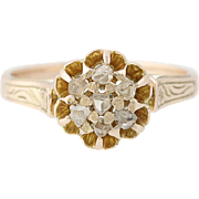 Victorian Macle Diamond Ring - 10k Yellow Gold Women's Size 6 1/2 Antique