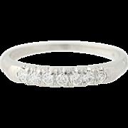 Art Deco Diamond Wedding Band - Platinum Vintage Ring Old European .35ctw