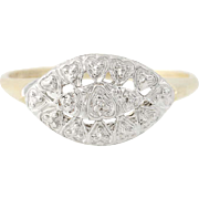 Vintage Hearts Ring - 10k Yellow & White Gold Diamond Accent Women's Size 8 1/2