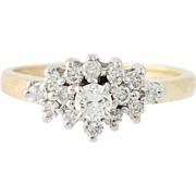 Diamond Ring - 14k Yellow & White Gold Round Brilliant Cut .60ctw