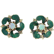 Opal Flower Blossom Earrings - 14k Gold Green Enamel Pierced .15ctw