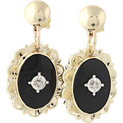Onyx Drop Earrings - 10k & 14k Gold Antique Cut Diamond Accents Screw-On Pierced