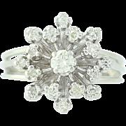 Diamond Cluster Cocktail Ring - 14k White Gold Round Brilliant .47ctw