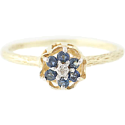 Sapphire Flower Ring - 10k Yellow Gold Diamond Accent Round Brilliant .23ctw