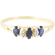 Sapphire & Diamond Ring - 14k Yellow Gold Marquise Brilliant .35ctw