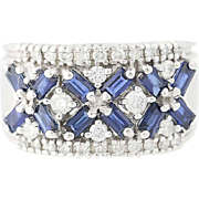 Sapphire & Diamond Ring - 14k White Gold Women's Baguette Cut 1.40ctw
