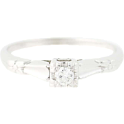 Art Deco Diamond Engagement Ring - 18k White Gold Vintage Round Brilliant .10ct