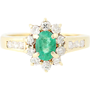 Emerald & Diamond Halo Ring - 14k Yellow Gold Oval Brilliant 1.03ctw