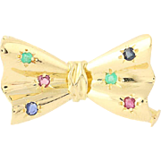 Multi-Gemstone Bow Brooch - 18k Yellow Gold Ruby Sapphire Emerald Pin .22ctw