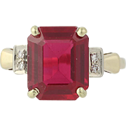 Vintage Synthetic Ruby & Diamond Ring - 14k Yellow Gold Milgrain 6.45ctw