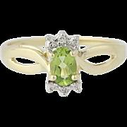 Peridot & Diamond Ring - 10k Yellow Gold Oval Brilliant Cut .48ctw