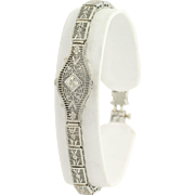 "Art Deco Filigree Bracelet - 10k White Gold Diamonds Floral 6.75"" Chain Vintage"