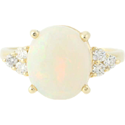 Opal & Diamond Ring - 14k Yellow Gold Size 7 3/4 Oval Cabochon 3.50ctw