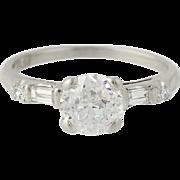 Art Deco Diamond Engagement Ring - Platinum Vintage Old European 1.15ctw
