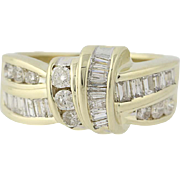 Diamond Ring - 10k Yellow Gold Round Brilliant & Baguette 1.00ctw