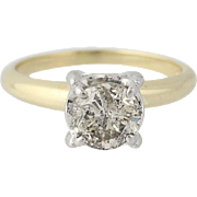 Diamond Solitaire Engagement Ring - 14k Yellow & White Gold Round Cut 1.15ct