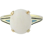 Art Deco Opal Ring - 14k Yellow Gold Enamel Vintage Cabochon 2.99ct