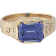 Art Deco Synthetic Sapphire Ring - 14k Yellow Gold Vintage Solitaire 3.38ct