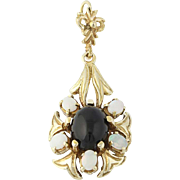 Onyx & Opal Drop Pendant - 14k Yellow Gold Oval Cabochon Cut .45ctw