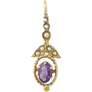 Vintage Amethyst & Seed Pearl Pendant - 14k Yellow Gold Oval Brilliant .40ct