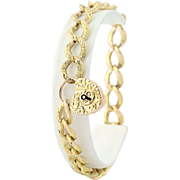 "Victorian Heart Lock Bracelet 8 1/2"" - 14k Gold Charm Modified Curb Love"