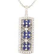 "Floral Sapphire & Diamond Pendant Necklace 18 1/2"" - 14k White Gold 1.09ctw"