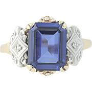 Vintage Synthetic Sapphire Ring - 10k Yellow Gold Diamond Accents .399ct