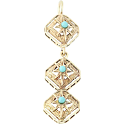 Vintage Turquoise-Accented Drop Pendant - 14k Yellow Gold Starbursts Open Cut